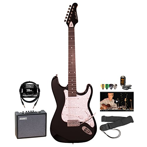 Sawtooth ST-ES-BKP-KIT-5 ST Style Electric Guitar & ChromaCast Accessories, Black with Pearl Pickguard