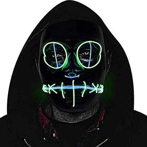 Halloween Mask LED,Cosplay LED Glow Scary Light Up