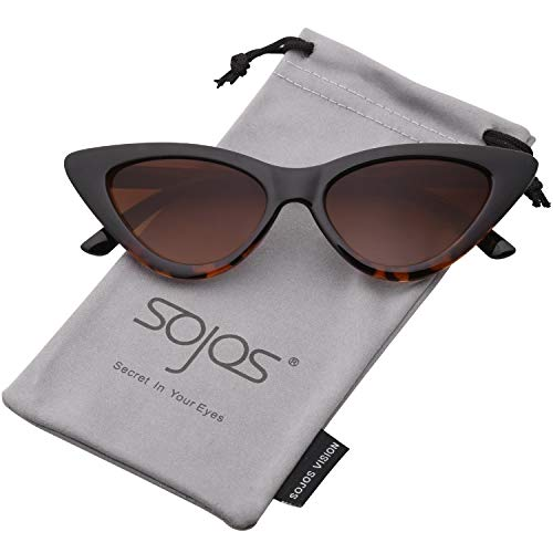 SOJOS Retro Vintage Narrow Cat Eye Sunglasses for women Clout Goggles Plactic Frame Cardi B with Tortoise Frame/Gradient Brown -