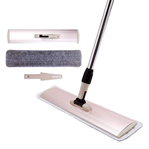 (Geero Microfiber Hardwood Floor Mop, Dust Mop for Laminate & Tile - 360 Degree Professional Dry Wet Reusable Flat Mop Stainless Steel Handle For Kitchen, Walls, Garage)
