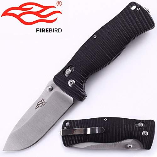 Knife F720 Firebird by Ganzo G720 Pocket Folding Hunting Knife G-10 Handle SS Blade (Balck)