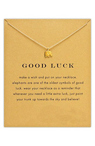 Lucky Small Elephant Pendant Necklace Gold Dipped, Lucky Symbol, 16