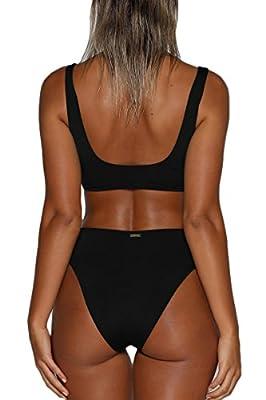 ioiom Women's Zipper Front Crop Top High Waist Sport Style Bikini Sets 2PCS Swimsuit