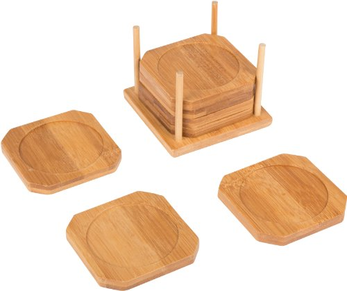 "Trademark Innovations 3.5"" Square 100% Natural Bamboo Coaster – Set of 6 with Holder By Trademark Innovations"