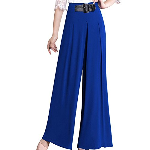 FACE N FACE Women's Chiffon High Waist Wide Leg Long Lounge Pants (Faces Lounge Pants)