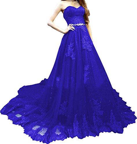 Reale Una Formale In Palla Blu Di Annies Abito Spalline Linea Senza Promenade Tulle Donne Pizzo Dell'abito Sposa tqwOwza