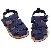 DZT1968® Baby Girl Boy PU Leather Anti Slip Sandals Shoes Prewalker (12~18 Months, Navy)
