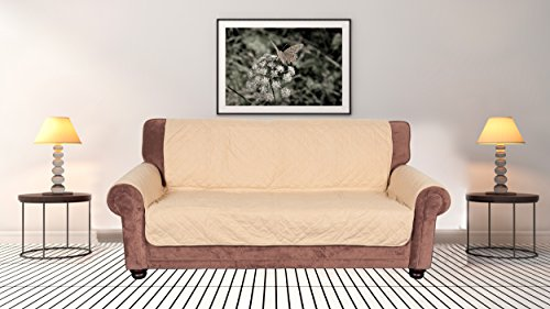 Jaybally Quilted Velvet Chair Loveseat Sofa Couch Cover, Concise Furniture Protector for Pets, Kids, Dogs, Waterproof Anti-Slip Slipcover,Tan, 68'x70'