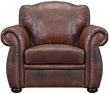 Oliver Pierce Casey Top Leather Club Chair, Brown
