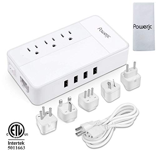 Travel Adapter Power Voltage Converter Step Down 220V to 110V 1875W with 4 Smart USB Charging for Hairdryer ETL Powerjc