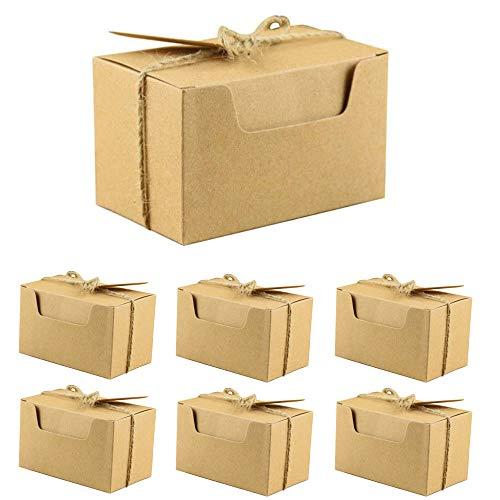 50 Piezas Kraft Papel Cajas de Regalo, Banquete de Boda Embalaje Caja, Caja de Regalo de Cartón con Tapa, con Cuerda de…