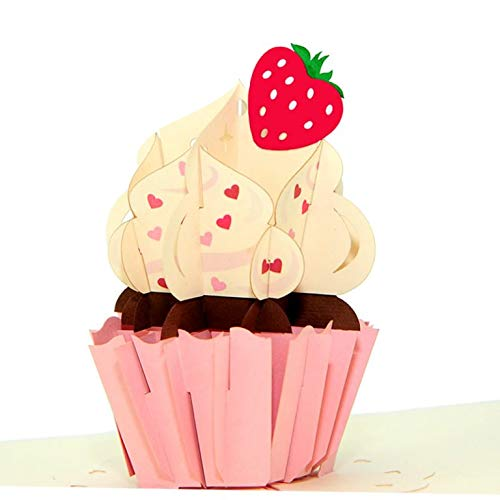 Pink Strawberry Cupcake 3d Happy Birthday Popup Card with -