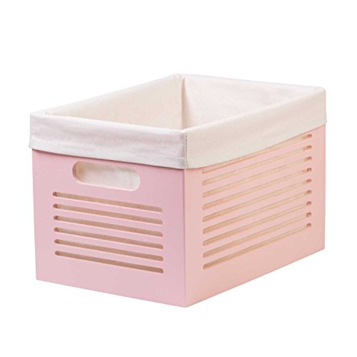 Wooden Storage Bin Container - Decorative Closet, Cabinet and Shelf Basket Organizer Lined With Machine Washable Soft Linen Fabric - Pink, Medium - By Creative Scents