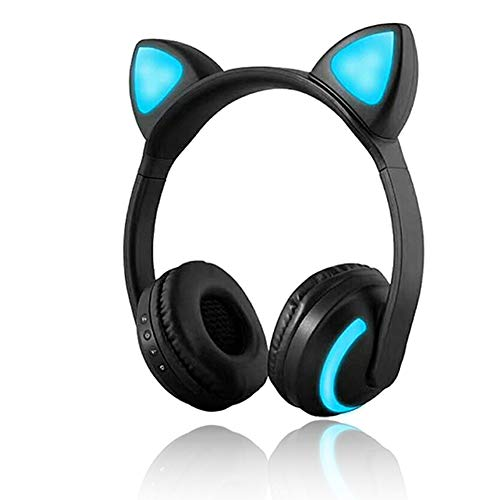 Wireless Bluetooth Cat Ear Headphone 7 Colors LED Light Flashing Glowing On-Ear Stereo Headset Compatible with Smartphones PC Tablet