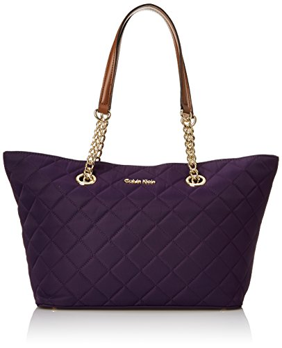 Calvin Klein 2DX Quilted Nylon Tote Shoulder Bag Acai Quilt One Size