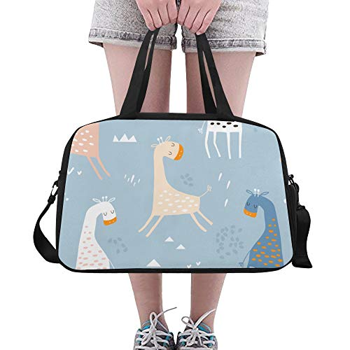 Duffel Bags Giraffe Slender Neck Useful Fitness Duffel Bag Functional Duffel Duffle Bag Luggage For Adult Mens Sport Run Cycling Dufflebag With Shoe Pounch ()