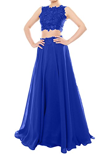 MACloth Women Two Piece High Neck Lace Chiffon Long Prom Dress Formal Party Gown Azul Real