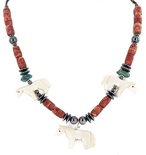 Carved Fetish Horse .925 Sterling Silver Certified Authentic Navajo Natural Turquoise Coral Hematite Bone Native American Necklace