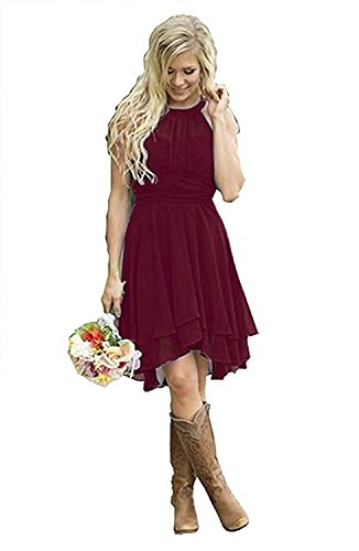 Meledy Women's Knee Length Country Bridesmaid Dresses Western Wedding Guest Dresses Short Maid of Honor Gown Burgundy US04
