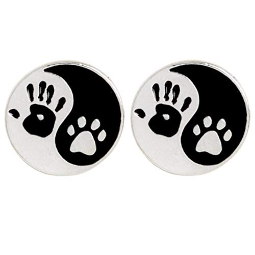 Charmart Palm Paw Tai Chi Lapel Pin 2 Piece Set Dog Puppy Cat Kitten Claw Enamel Brooch Pins Accessories Badge Gifts
