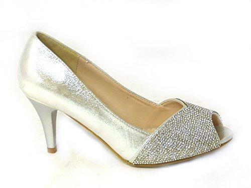 Diamante Silver haut Cour talon Basse mariage Mid 06 Taille 80367 Chaussures Femme Prom de mariage H7fpSp