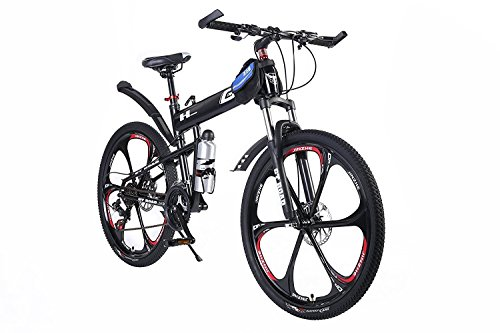 OPATER MTB Mountain Bike 26'' 24 Speed Sturdy Carbon Steel Frame Bike For Men and Women (Black)