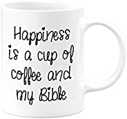 Happiness is a cup of coffee | Christian Gift Mug by Serenity Home Goods | 11 ounce ceramic tea cup | Present