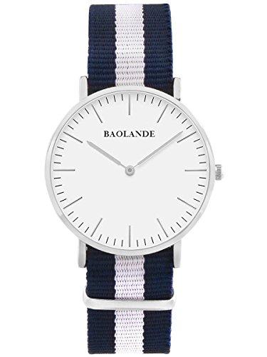 Alienwork Classic St.Mawes Quarz Armbanduhr elegant Quarzuhr Uhr modisch Zeitloses Design klassisch silber blau Nylon U04819L-01