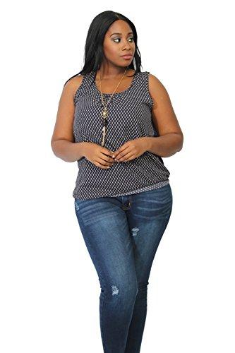 Vialumi Women's Juniors Plus Sleeveless Lace Back Tank Blouse w Necklace Navy 3X