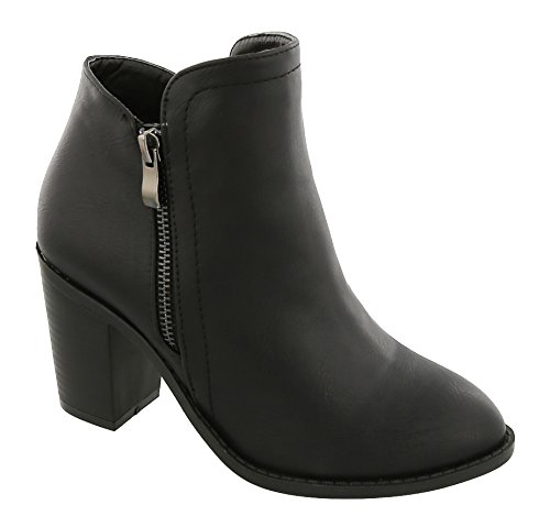 MVE SHOES Damen Kreuz-Schnalle Bootie Side Zip Hohe gestapelte Block Heel Ankle Booties Schwarz * H