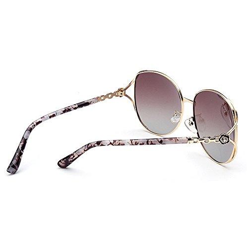 Protección mujer gafas de Peggy Lady's Eyewear flores Marco Decoración conducir sol sol para impresión de de de Para clásico bordeadas gafas polarizadas y de Oversized sol de Gu metal Marrón Viajar UV Gafas UXqXn1wxPg