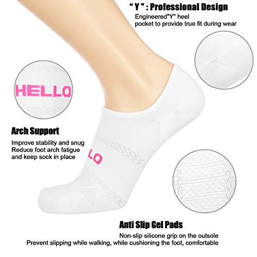 Womens Casual Athletic No Show Low Cut Socks 6 Pack Women Mesh Breathable Anti-Slip Sole Invisiable Sports Socks by COOVAN (Image #1)