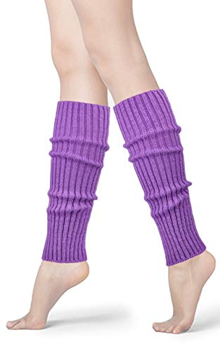 Womens 80s Neon Ribbed Knit Crochet Dance Yoga Leg Warmers Long Socks (Light Purple(1 pair))