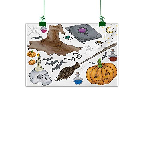 Unpremoon Halloween,Canvas Painting Magic Spells Witch Craft Objects Doodle Style Illustration Grunge Design Skull Wall paintingMulticolor W 32