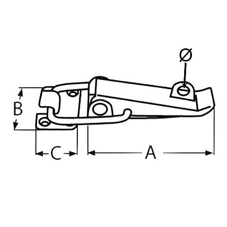 100 mm 1 St/ück Edelstahl Spannverschluss Kistenverschluss Klapp Hebel Verschluss L/änge ca