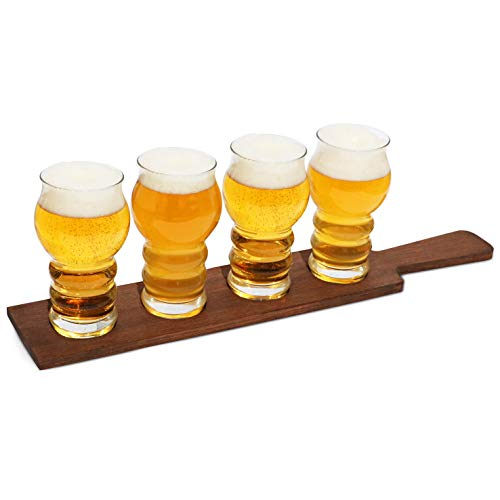 Beer Flight Paddle with Glasses | Tasting Set of 4 | 430cc, 14.5 oz | Natural Wood Tray | Vintage, Rustic Design | Barware | Birthday, Housewarming Party, Bar Accessory ()