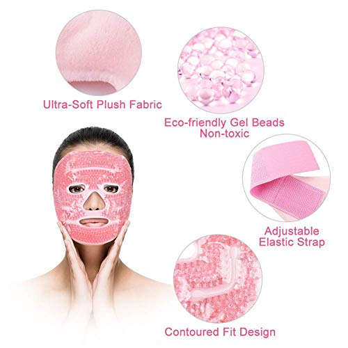 Ice Face Mask, Beads Ice Pack, Hot Cold Therapy for Migraines, Headache, Stress, Puffy Eyes, Dark Circles, Adjustable Strap, Soft Fabric, Reusable, Pink