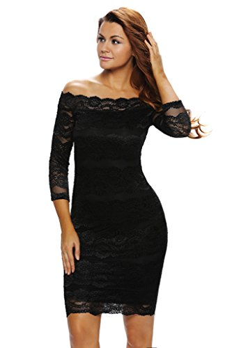 Shawhuwa Womens Sexy Floral Lace Off Shoulder Bodycon Party Mini Dress M Black 10