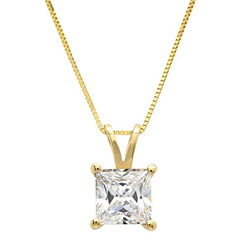 Created Moissanite Solitaire Pendant - Clara Pucci 1.0 CT Princess Cut Simulated Diamond CZ Solid 14K Yellow Gold Solitaire Pendant Box Necklace 16