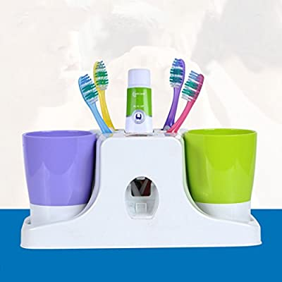 Toothbrush Toothpaste Holder,Netspower Hands Free Toothpaste Dispenser Automatic Toothpaste Squeezer Mug Stand Organizer Set with 2 Cups