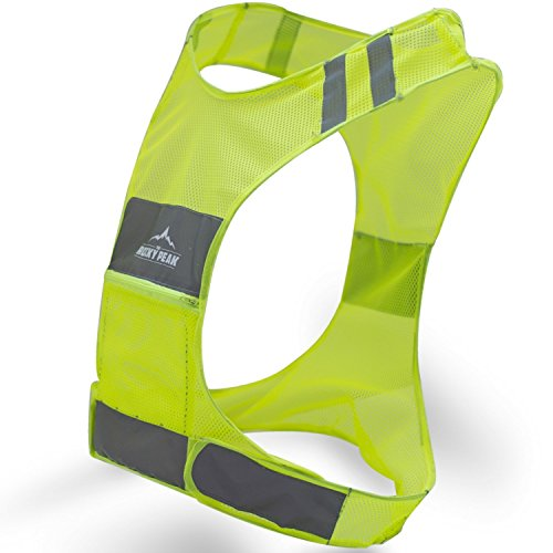 The Rocky Peak New Best Reflective Running Vest w/Pocket - #1 Recommended Safety Gear - Great for Biking, Cycling, Walking for Men & Women -