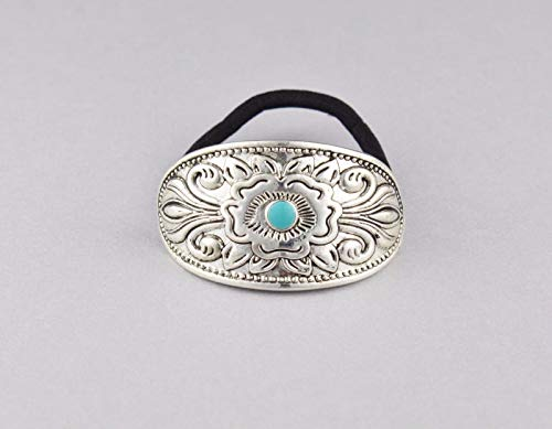 Silver Turquoise Metal Cuff Genie Style Ponytail Holder Stretch Pony Tail Cover Girls Headbands For ()