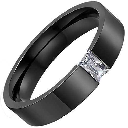 (MoAndy Anniversary Ring Unisex's Rings Stainless Steel Cubic Zirconia Brief Black Wedding Bands Polish 6Mm Size 8 ZTU1479 )