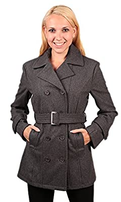 Woodland Supply Co. Women's Double Breasted Belted Wool Pea Coat
