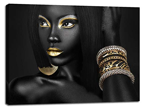 Chicicio African American Black Woman Portrait Picture for Living Room Wall Decor Canvas Art Golden Beauty Model Poster Painting Office Hallway Bedroom Decorations Ready to Hang 20 Wx28 H