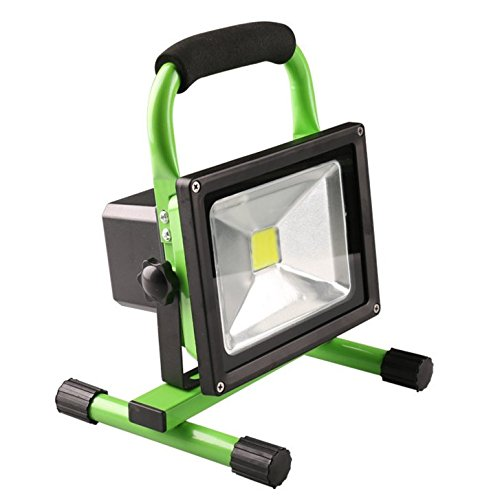 W-LITE 20W Portable Rechargeable Cordless LED Work Light Rechargeable Flood Light, outdoor light, Waterproof Emergency Light Trouble Light (Green body) 6000K, daylight(White) by W-LITE