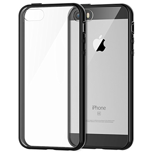 Price comparison product image iPhone 5s Case, JETech Apple iPhone SE 5S 5 Case Bumper Shock-Absorption Bumper and Anti-Scratch Clear Back (Black) - 0420