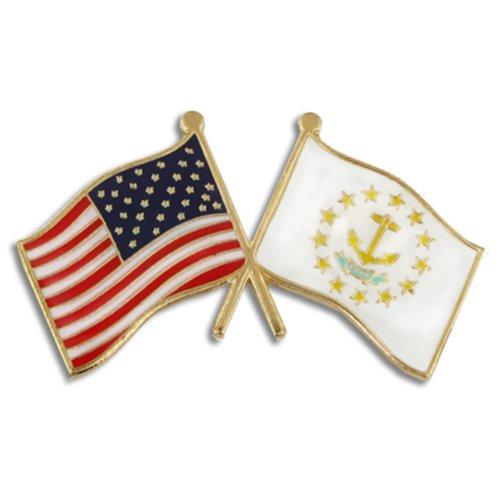 PinMart Rhode Island and USA Crossed Friendship Flag Enamel Lapel Pin