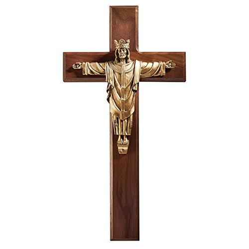 "Risen Christ The King 12"" Wall Crucifix -Walnut Finish Lenten Cross with Antique Bronze Finish Christ REX is Risen Corpus Figure- Includes Saint Gregory"