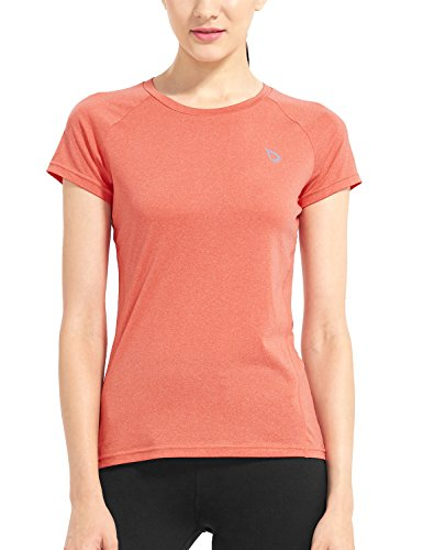 Field Short Sleeve Top (Baleaf Women's Short Sleeve Cool Feeling Running Shirt Mesh Back Heather Orange Size)